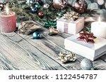 christmas card. shiny christmas ...   Shutterstock . vector #1122454787