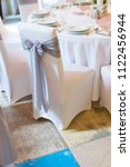 wedding chair with ribbon  gray ... | Shutterstock . vector #1122456944