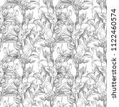 monochrome botanical pattern.... | Shutterstock . vector #1122460574
