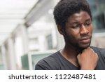 sick african man with sore... | Shutterstock . vector #1122487481