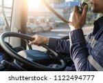 semi truck truck driver making... | Shutterstock . vector #1122494777