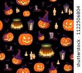 seamless halloween pattern with ... | Shutterstock .eps vector #1122506804