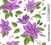 watercolor clematis flowers.... | Shutterstock .eps vector #1122508037