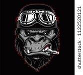 gorilla biker mascot with spark ... | Shutterstock .eps vector #1122520121