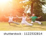 group of people practice tai... | Shutterstock . vector #1122532814
