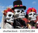 Stock photo dia de los muertos day of the dead participants of the mexican holiday in death masks 1122541184