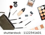 flat lay female cosmetics... | Shutterstock . vector #1122541601