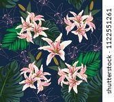 Seamless Pattern Pink Lilly...