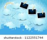 surreal skyline with rainbow...   Shutterstock .eps vector #1122551744