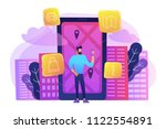a man near huge lcd screen with ...   Shutterstock .eps vector #1122554891