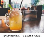 fresh delicious lemonade in the ... | Shutterstock . vector #1122557231