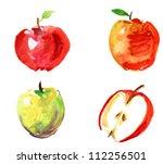 Set Of Hand Drawn Apples...