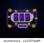 neon casino slots sign isolated ... | Shutterstock .eps vector #1122576689