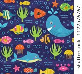 seamless pattern with marine... | Shutterstock .eps vector #1122576767