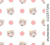 seamless pattern  cute cat head ... | Shutterstock .eps vector #1122577241