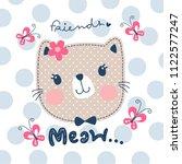 happy cute cat girl with... | Shutterstock .eps vector #1122577247