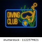 diving club neon sign isolated... | Shutterstock .eps vector #1122579821