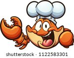 happy cartoon chef crab. vector ... | Shutterstock .eps vector #1122583301