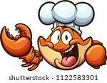 happy cartoon chef crab. vector ... | Shutterstock .eps vector #1122583301