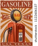 vintage poster with old gas... | Shutterstock .eps vector #1122606137