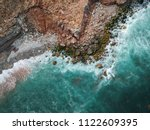 Aerial top view of sea waves...
