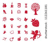 woman icon set and accessories... | Shutterstock .eps vector #112261181