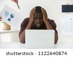 stressed african american... | Shutterstock . vector #1122640874