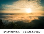 sunrise and the mist in winter...   Shutterstock . vector #1122653489