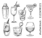 alcoholic cocktails sketch.... | Shutterstock .eps vector #1122658121
