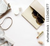 flat lay set of luxury female... | Shutterstock . vector #1122682877