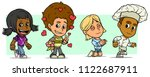 cartoon funny boy and girl... | Shutterstock .eps vector #1122687911