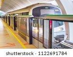light rail transit train... | Shutterstock . vector #1122691784