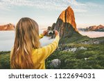 woman blogger taking photo by... | Shutterstock . vector #1122694031