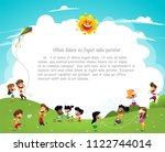happy cartoon kids having fun... | Shutterstock .eps vector #1122744014