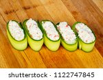 Small photo of Sushi with cram meat inside cucumber