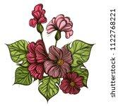 beautiful pink wild flower.... | Shutterstock .eps vector #1122768221