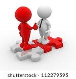 3d people   men  person shaking ... | Shutterstock . vector #112279595