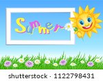 funny summer sun with daisy and ... | Shutterstock . vector #1122798431