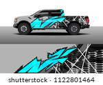 pick up truck and car racing... | Shutterstock .eps vector #1122801464