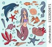set of sea elements. cute...   Shutterstock .eps vector #1122820871