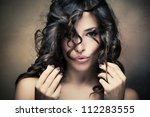 sensual brunette woman with... | Shutterstock . vector #112283555
