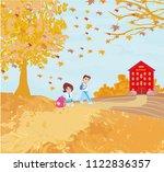 happy kids go to school  | Shutterstock . vector #1122836357