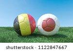 two soccer balls in flags...   Shutterstock . vector #1122847667