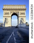 famous arc de triomphe in paris ...   Shutterstock . vector #112286924