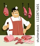 butcher with a knife in front... | Shutterstock .eps vector #1122871601