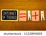 Small photo of Handwriting text Internet Of Things. Concept meaning Innovation Globalization Digital Electronics Connectivity White paper clip laid woody desk black slate some texts equal and plus mark.
