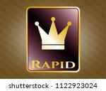 gold badge or emblem with... | Shutterstock .eps vector #1122923024