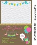 kid invitation card design.... | Shutterstock .eps vector #112296341