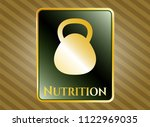 shiny emblem with kettlebell... | Shutterstock .eps vector #1122969035