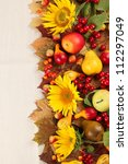 Autumn Frame With Fruits ...